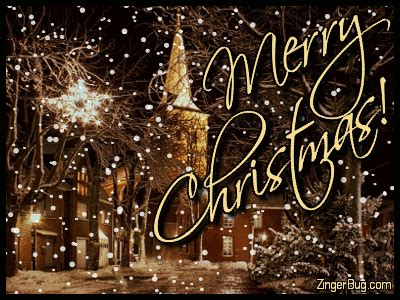 merry christmas church  falling snow glitter graphic greeting comment meme  gif