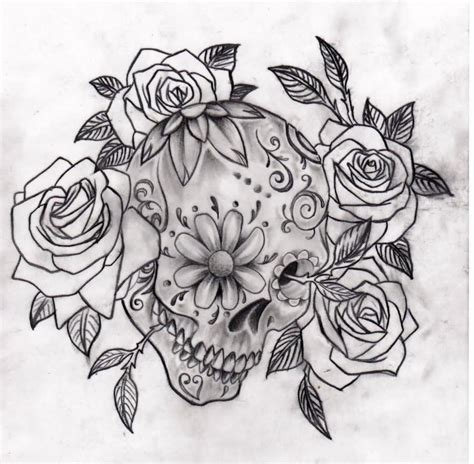 sugar skull tattoo with roses 25 skull half sleeve tattoos