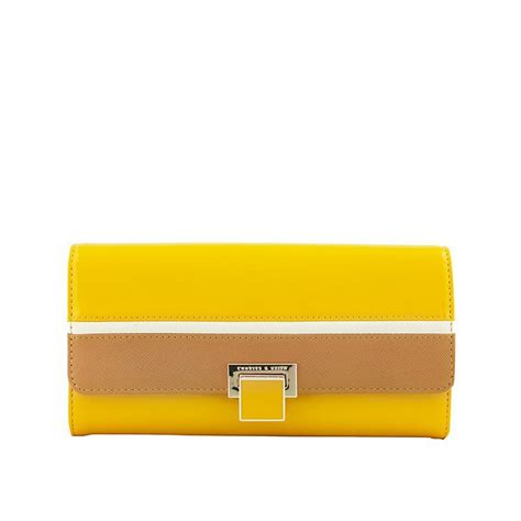 Wallet Charles Keith D4193 charles keith new metal buckle hit color stripes wallet purse clutch brand