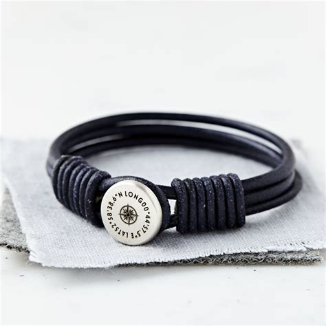 And Bracelet personalised silver and leather coordinate bracelet sally clay