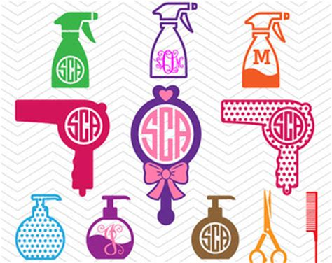 Hairstyle Tools Designs For Silhouette Cameo by Hair Monogram Svg Etsy