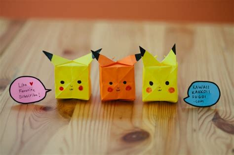Origami Raichu - pikachu origami how to fold tutorial kawaii