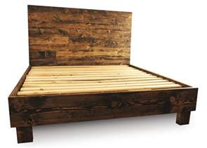 Wooden King Bed Frames Rustic Wood Platform Bed Frame And Headboard By Pereidarice