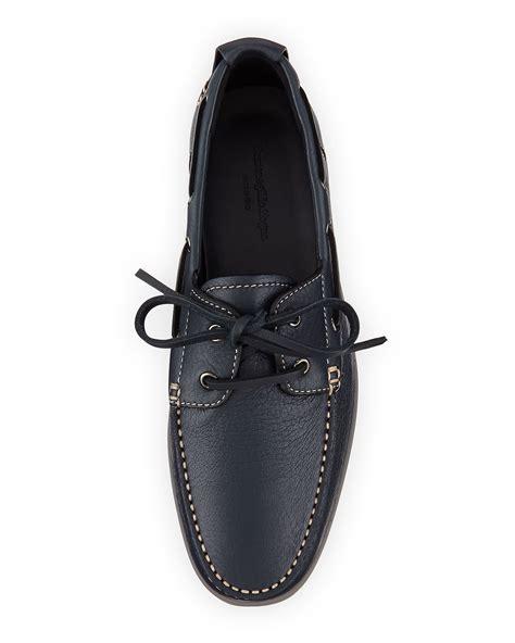 zegna boat shoes lyst ermenegildo zegna men s leather boat shoe in black