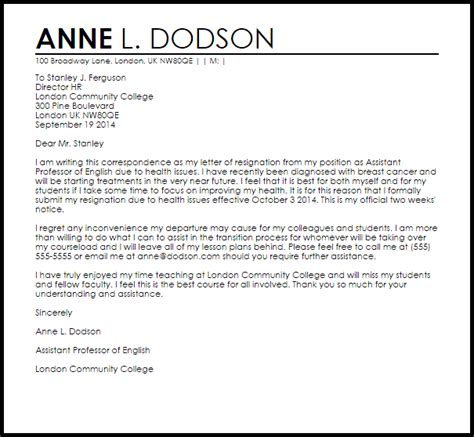 resignation letter due to unsatisfactory work circumstances livecareer