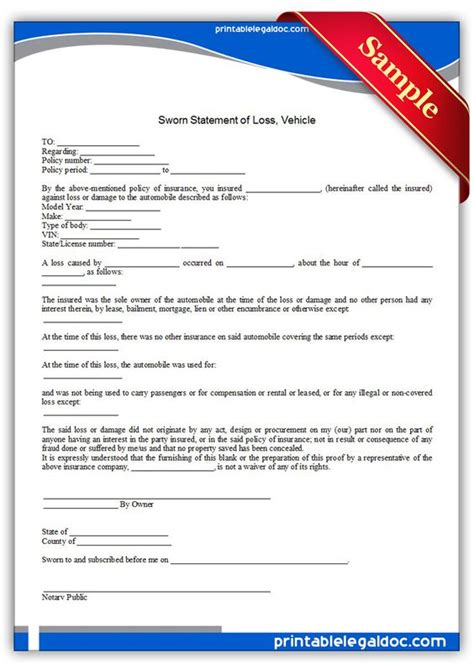 affidavit of loss template printable sworn statement of loss vehicle template