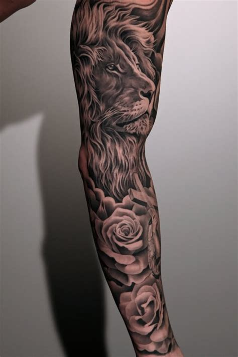sleeve tattoo ideas for men black and grey 18 amazing leo sleeve tattoos