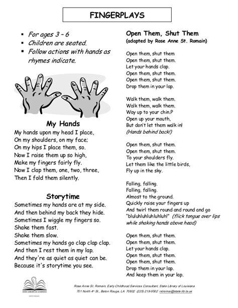 preschool songs fingerplays preschool fingerplays and rhymes