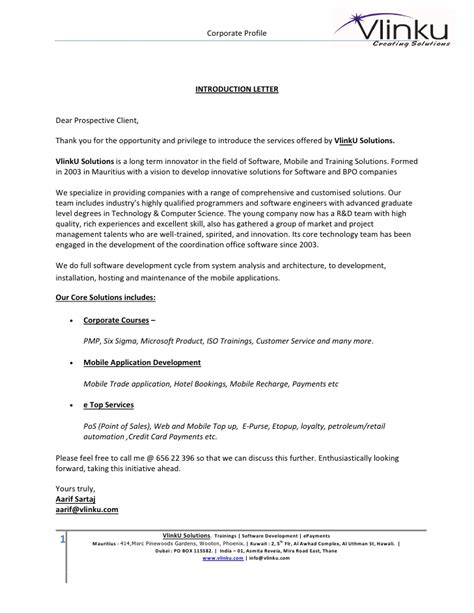 Company Letter Of Introduction To Potential Clients 1 4 Vlink U Profile