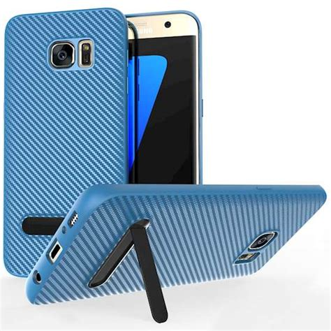 Slim Carbon Samsung S7 Edge by Samsung Galaxy S7 Edge Carbon Fibre Gel With Stand Blue
