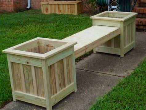 outdoor wooden bench seat design ideas  planter