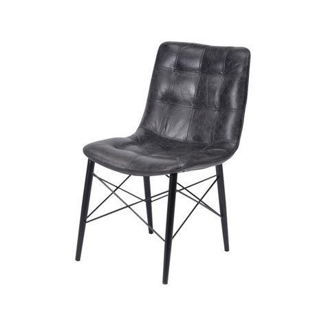 buy antique slate leather and wood dining chair from