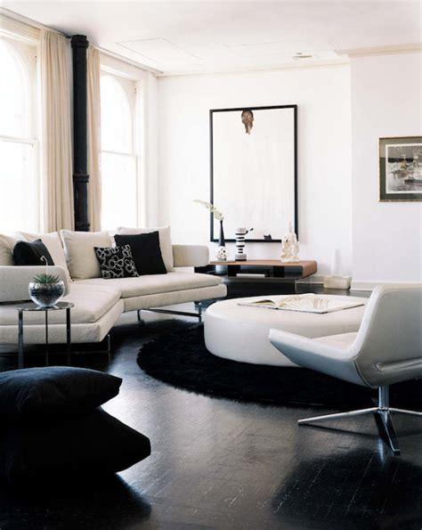 black and white living room furniture with round coffee round leather ottoman design ideas