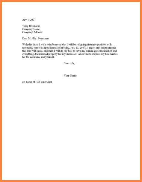 One Week Notice Resignation Letter by 9 4 Weeks Notice Resignation Letter Notice Letter