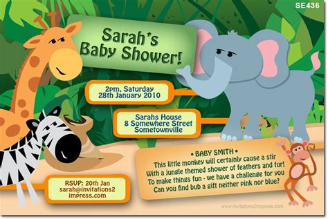 Se436 Jungle Baby Shower Baby Shower Invitations Invitations 2 Impress Photo Invitations Jungle Baby Shower Invitations Free Template