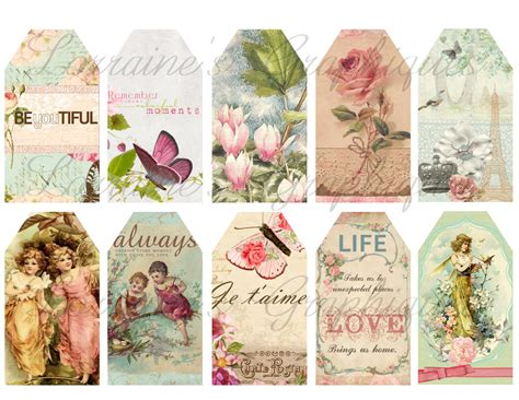 shabby chic 8 digital gift tags or label printables jpg and