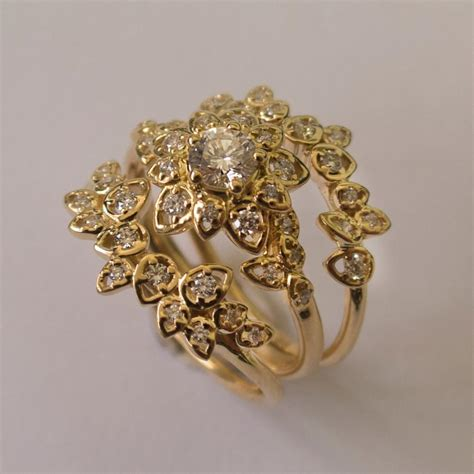 deco petal engagement set 14k gold and