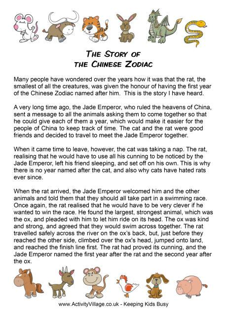 new year race story the story of the zodiac printable