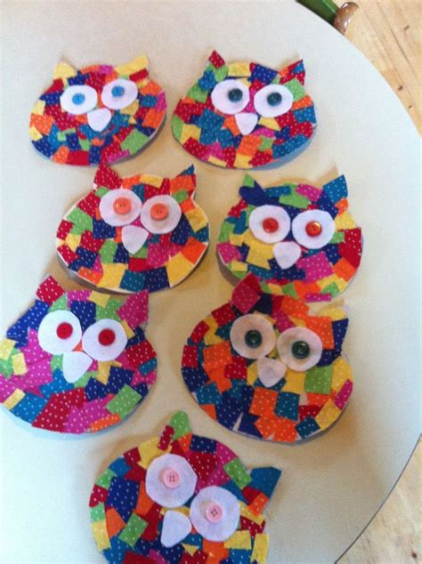 preschool arts and crafts projects cardboard owl cutout small fabric squares glued on to