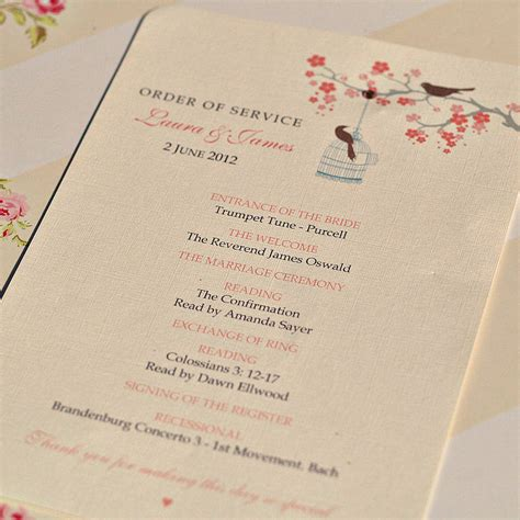 order of service wedding birds cards by beautiful day notonthehighstreet