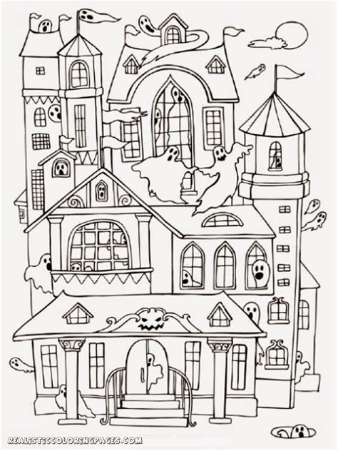 A House Coloring Page by Haunted House Coloring Pages To Print Coloring For 2019