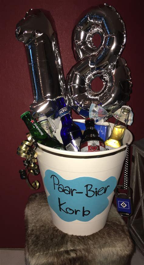 Paar Bier Korb  Geburtstag Geschenkidee Geburtstag