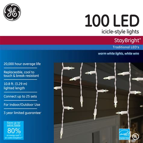 100 light led warm white icicle light set ge staybright led 100 lt 5 5mm icicle light