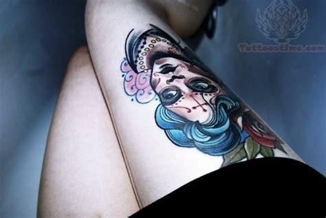 sugar skull thigh tattoos sugar skull images designs