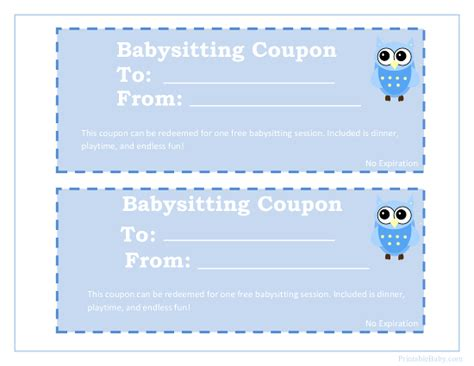 babysitting coupon template free printable babysitting coupons