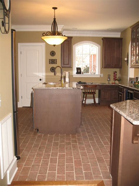 Kitchens With Dark Wood Cabinets by Kitchens Inglenook Brick Tiles Thin Brick Flooring