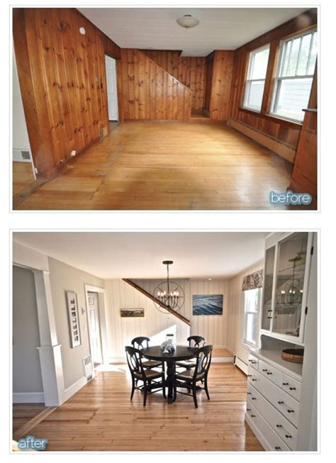 before after wood paneled accent wall design sponge knotty pine panelling transformed by paint kitchens