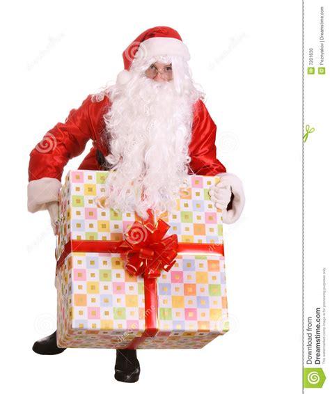 big santa claus santa claus giving big gift box stock photo image 7201630