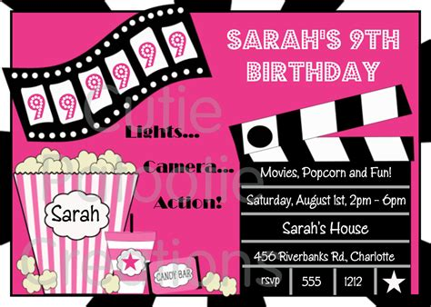 movie night party invitation movie birthday invitation movie night party invitations