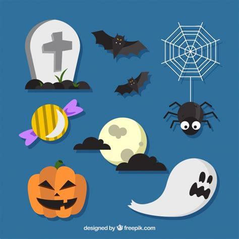 imagenes de halloween diablitas halloween elementen op een blauwe achtergrond vector