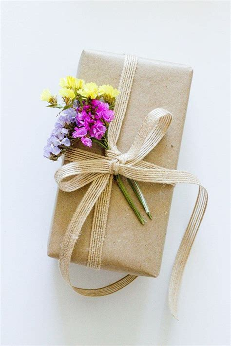 Flower Wedding Gift by Flowers On Brown Paper Gift Wrap