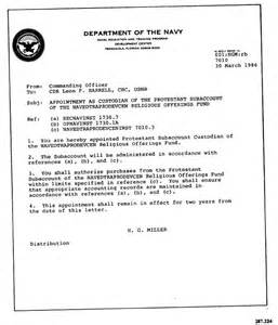 Navy Appointment Letter Instruction Letter From Commanding Offier Appointing Cdr Harrell
