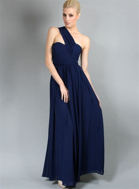 Navy Bridesmaid Dress by Dress By White Velvet One Shoulder Navy Blue
