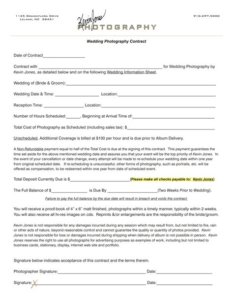 photographer agreement template wedding photography contract kevin jones photography