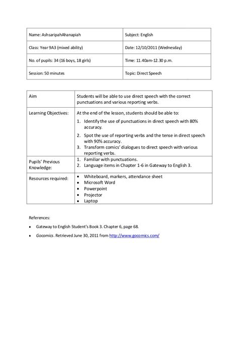 direct lesson plan template lesson plan 5 direct speech