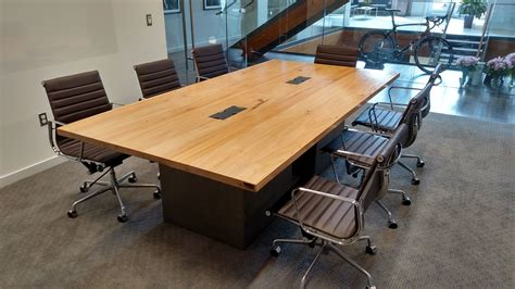 Wooden Meeting Table Made Reclaimed Wood And Steel Industrial Conference Table By Re Dwell Custommade