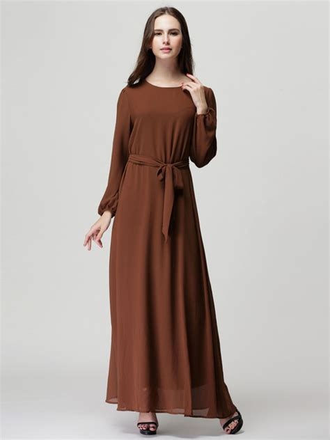 Brown Dress brown sleeve shift maxi dress with belt fr sale