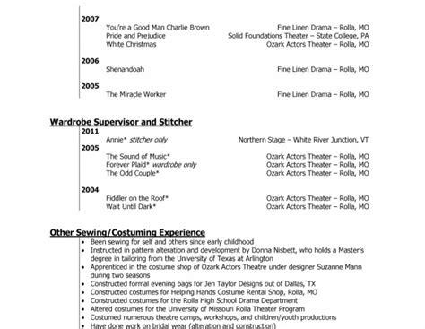 costume designer resume resume costume design hobbs