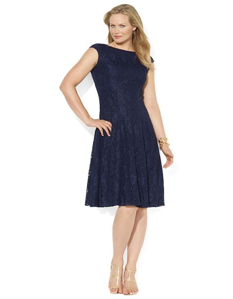 Dress Blue 1 lyst by ralph plus cap sleeved lace dress in blue