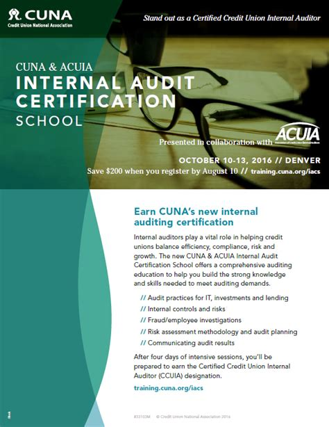 cuna compliance school cuna acuia internal audit certification school acuia