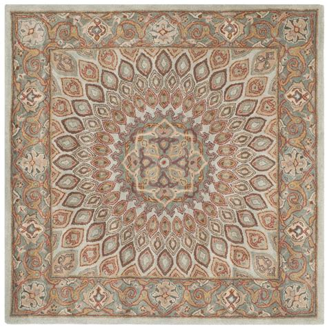 area rugs 8 ft safavieh heritage blue gray 8 ft x 8 ft square area rug hg914b 8sq the home depot