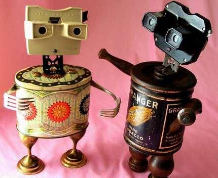 reclaimed materials robots: etsy artist turns junk into