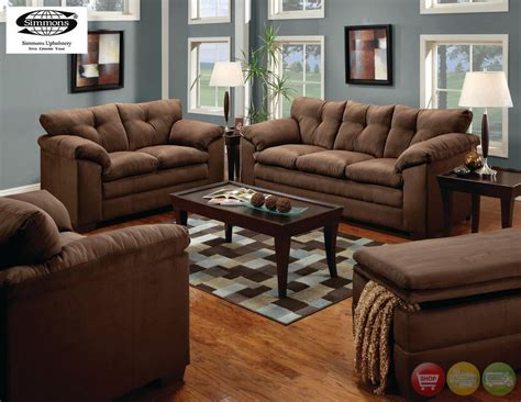 Chocolate Living Room Furniture Sofa Loveseat Chair Ottoman Casual Microfiber 4 Living Room Set Ebay