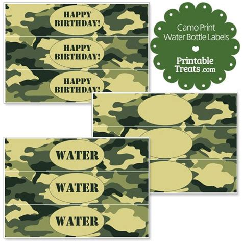 printable army bookmarks free printable camouflage water bottle labels from