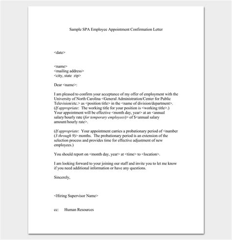 appointment letter format for temporary employee appointment letter 22 sles in word doc pdf format