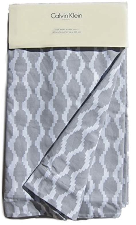 Calvin Klein Curtains Calvin Klein Home Set Of 2 Window Panels 100 Cotton Geometric Tiles Lattice 50 By 96 Inch Gray